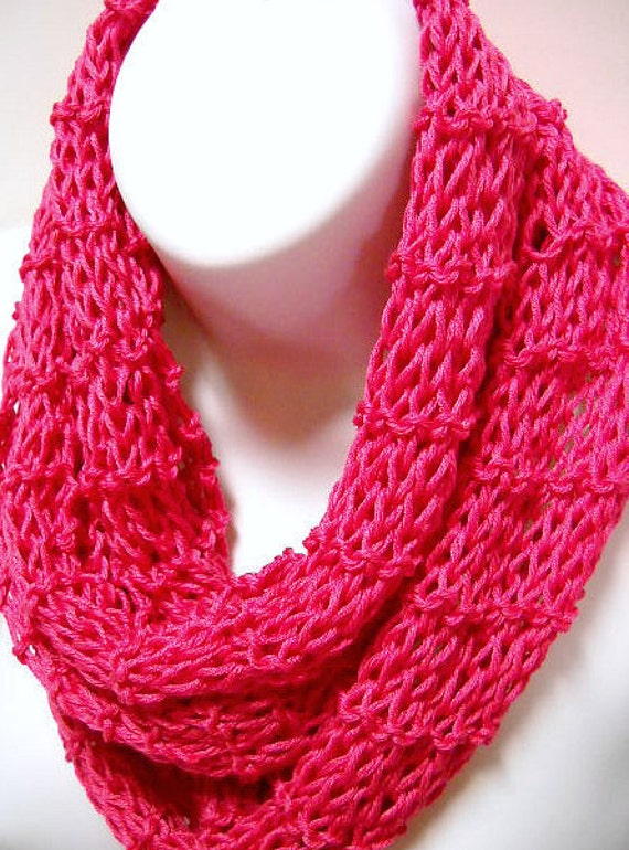 Bright Pink Knit Scarf, Lightweight All Season Scarf, Womens Accessories