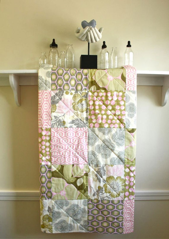 Baby Quilt -  Optic Blossom Pink - Floral Baby Girl Quilt - Grey, Pink, Olive, Ivory, Crib Bedding, Nursery Quilt, Handmade, Baby Bedding