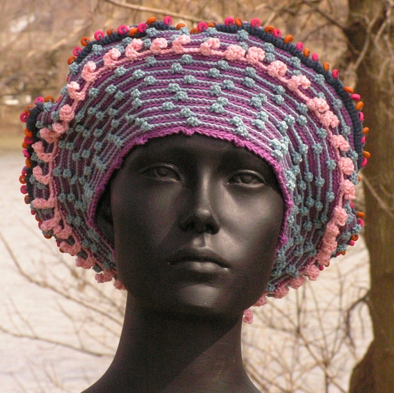 Soft Blue Crochet Hat with Little Bubble Pink Threads with a Soft Blue Fabric Pin...