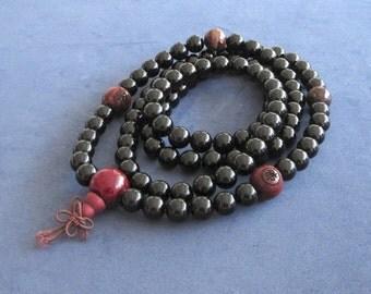 Mala Beads 108 Onyx Meditation Prayer Buddhist Beads Yoga Gift Men Women Zen Worry Beads Red Tiger's Eyes Wood Beads Chinese Word Protection