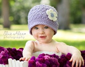 Purple Baby Cloche Hat with Cream Flower and Vintage Button, Newborn to 6 Month Size (Item 876) - ThatsTheCutestThing