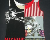 M. Medium womens. Upcycled Pop Top. Nevermore raven skull Machine rock and roll tank top. red black stripe.