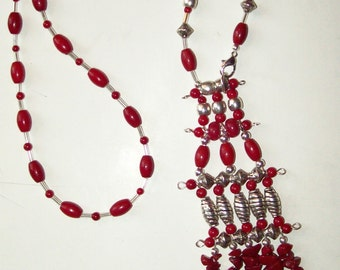 Red Bead Fringe Statement Necklace  ID 172