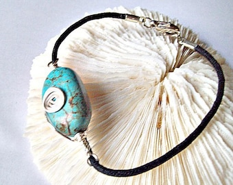 Turquoise Bead  Bracelet Spiral Wire Wrapped on Leather Cord  ID143