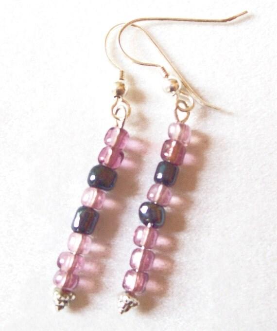 Amethyst and Indigo Earrings Glass Seed Beads, Purple and Blue Earrings  ID 149