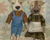Primitive Doll Pattern, Art Doll, e Pattern, Pit Bull, Dog Pattern, Folk Art Pattern, Dog Art, Whimsical, HAFAIR, Artful Zeal
