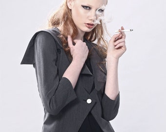 Tailored Sharp Shoulders Blazer With Asymmetric Notch Lapel