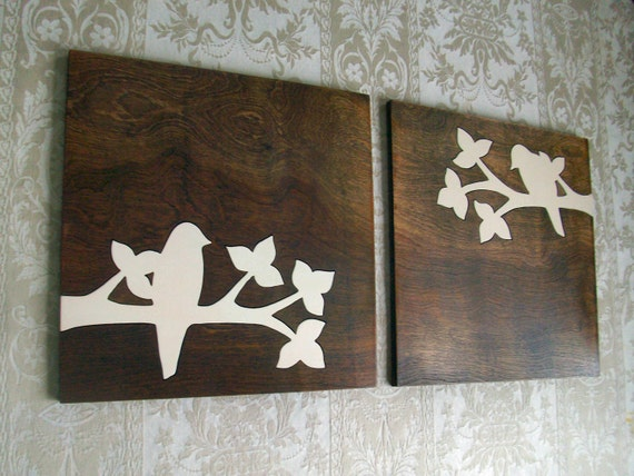 "Bird Silhouette Wall Hanging Wood Wall Decor Wall Art Set Bird Wall Art Rustic Home Decor 12""x12"""