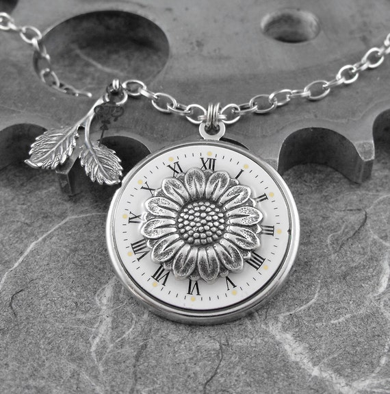 Daisy Flower Clock Silver Necklace - Taking Time to Pick the Daisy by COGnitive Creations