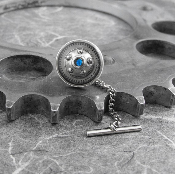 Nautical Steampunk Blue Tie Tack Pin - The Porthole of Discovery by COGnitive Creations by COGnitive Creations