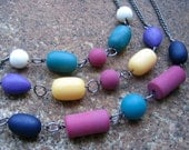Eco-Friendly Set (3) of Layered Necklaces - Box of Crayons - Recycled Vintage Steel Chain and Colorful, Matte Finish Beads