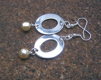 Eco-Friendly Dangle Earrings - In a Flash - Recycled Vintage Shiny Flat Cut-Out Silvertone Metal Ovals and Off-White Glass Pearls