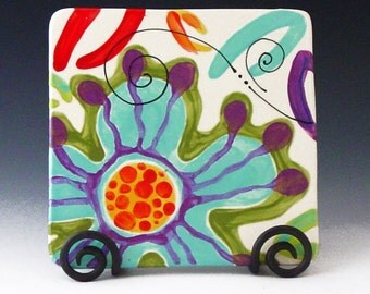 Trivet Pottery Trivet Ceramic Trivet Colorful Trivet Utensil Rest Boho Kitchen Decor Jubilation Square Trivet Gift for Chef Hostess Gift  J