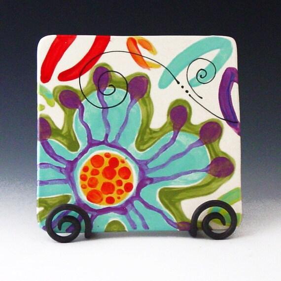 Trivet Pottery Trivet Ceramic Trivet Colorful Trivet Utensil Rest Boho Kitchen Decor Jubilation Square Trivet Gift for Chef Hostess Gift  J