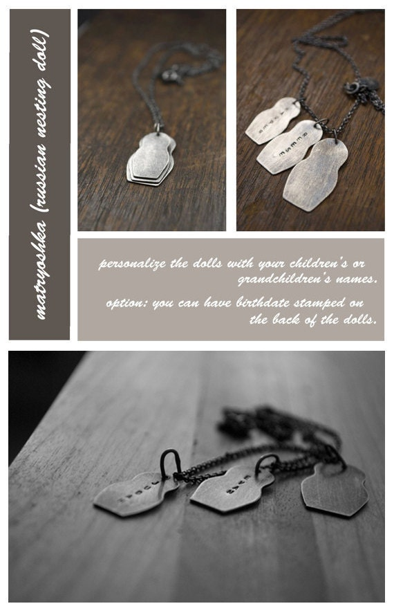 Matryoshka: sterling silver dolls (personalize gift for mom - made to order - custom) - mom necklace