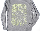 Unisex Long Sleeved TShirt - Subway Station Tracks in Grey