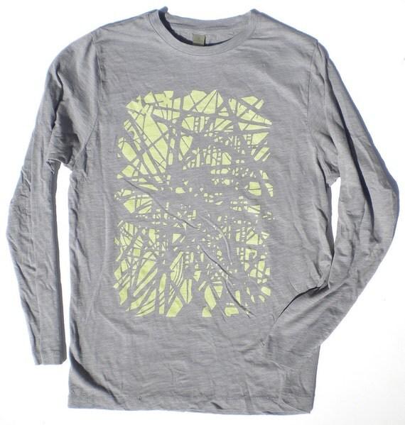 Long Sleeved Shirt - Subway Station Tracks in Unisex Grey