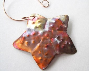 Bumpy Starfish Copper Christmas Tree Decoration, Metalwork Ornament, Nautical & Beach Decor,  Rustic Star, Metal Holiday Xmas Tree Ornament