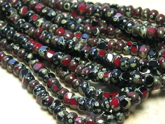 6/0 3 Cut Opaque 2 Tone Jet Black and Dark Red Picasso Firepolished Czech Glass Seed Bead Strand (DW147)