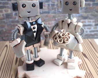 """Custom Robot Wedding Cake Topper MADE TO ORDER Rustic Shabby Chic Bots 4"""" inch - Clay and Wire"""