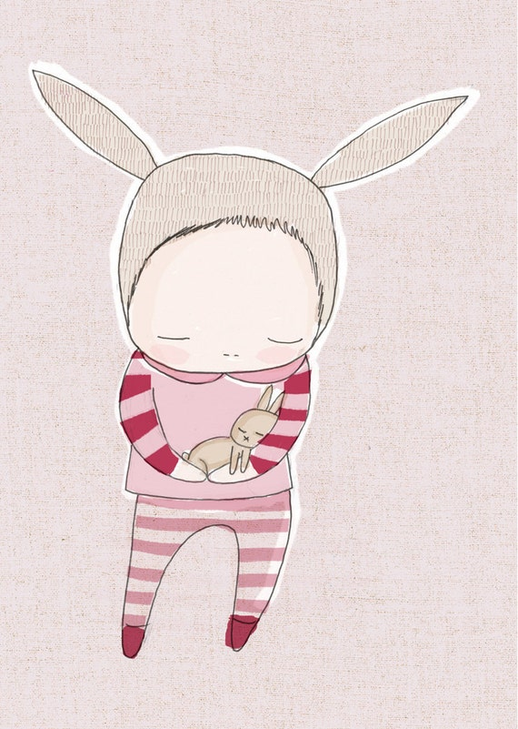 Pink Nursery Art - Baby Bunny Rabbit Cuddle - Pink and Red Stripes Art Print -Girl Illustration