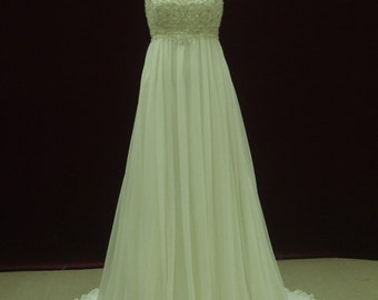 Gorgeous Gatsby Wedding Dress Empire Waist with Straps Custom Made to Your Measurements