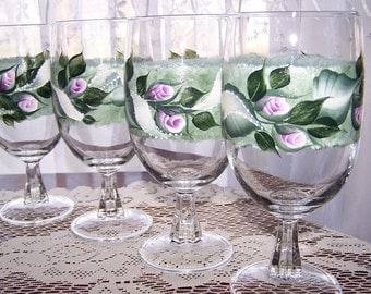Ice tea glasses with Pink Rose Buds and white ribbons and  Set of 4