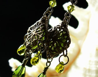 Lime Olive Green Crystal Dangle Drop Victorian Earrings Antiqued Gold Bronze Filigree Titanic Temptations Vintage Bridal Style Jewelry