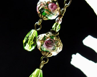 Lime Green Dangle Victorian Earrings, Pink Rosebud Crystal Vintage Bridal Style Drops, Antiqued Gold Filigree, Titanic Temptations Jewelry