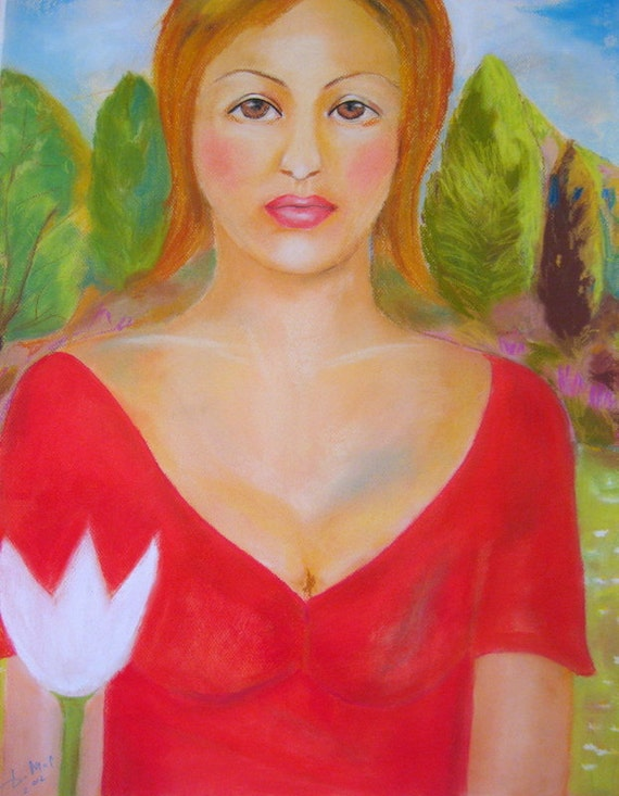 Lilies  And  Me . Original Soft Pastels Painting . Large Original Woman Art .Figurative .