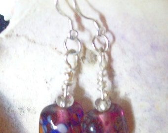 Amethyst Wire Wrapped Lampwork Bead Earrings , Purple Bead Earring. ID 166
