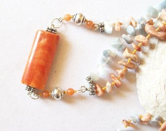 Crab Fire Agate Necklace with Fire Opal Chips and Peach Jasper Chips  ID 037