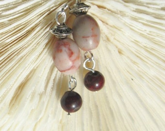 Pink and Red Stone Earrings, Pink Rhodonite Earrings with Red Chalcedony   ID 197