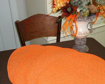 Vintage Table Linens - Place Mats - Four Orange Polka Dot - Brown Table Cloth - 1970's - Home Decor