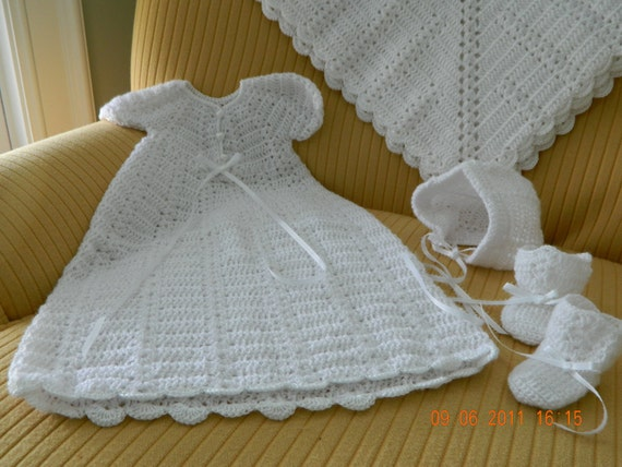 Beautiful White Crocheted 4 pc. Christening Set made with quality Paton's Beehive Baby Fingering Yarn. Includes hat, gown, blanket, booties