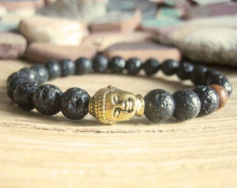 Mens Buddha Bracelet - Lava Stone Bracelet for Men, Matte Black with Gold Buddha and Red Lotus Seed Mala Bead