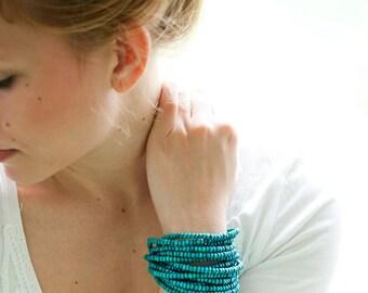 Turquoise Wood Bead Statement Handmade Bracelet