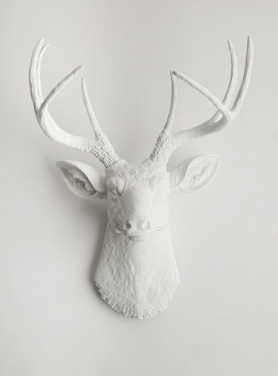 White Deer Head - The Templeton - White Resin Deer Head- White Deer Antlers Mounted- Faux Head Wall Mount
