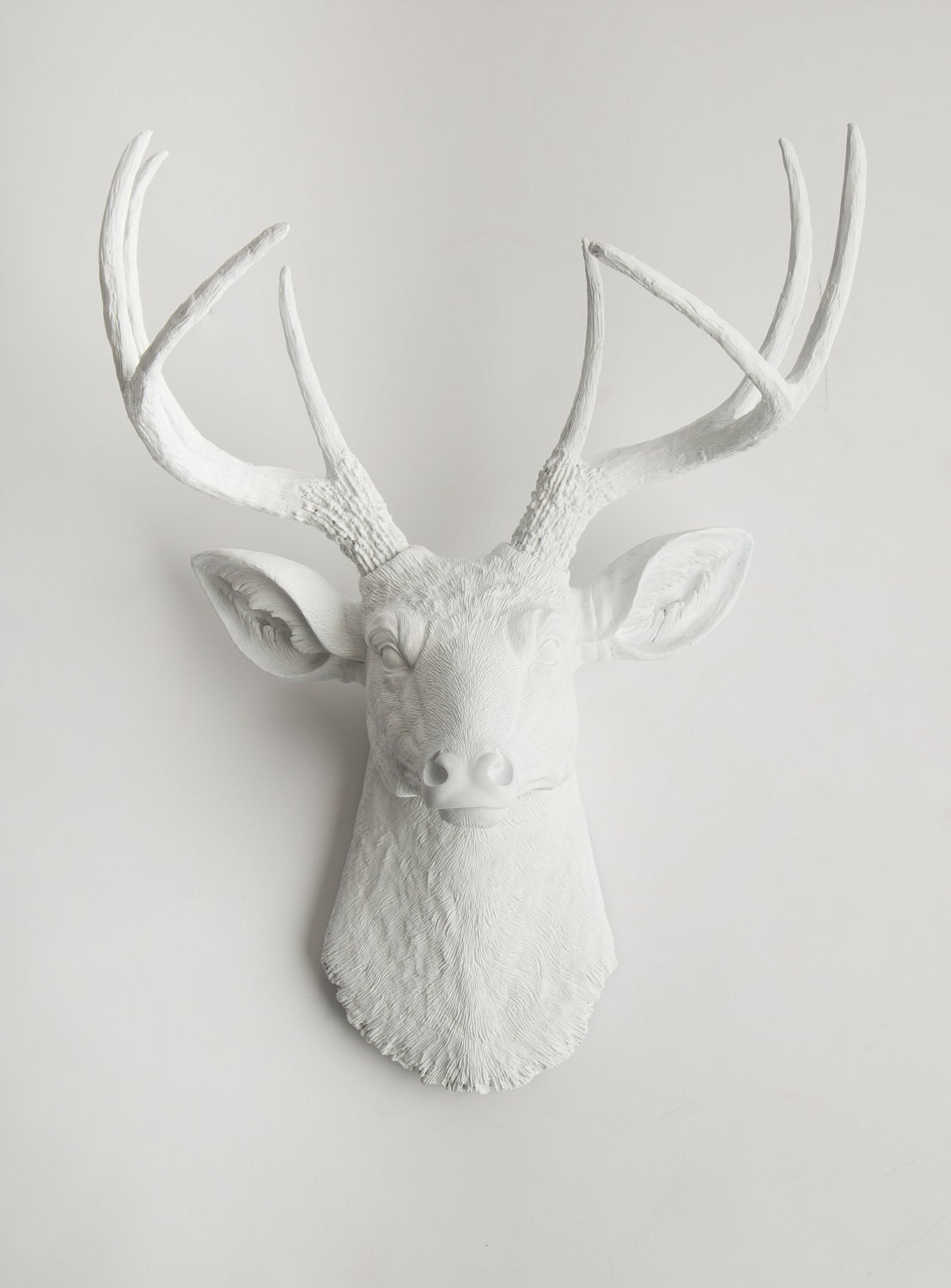 🔎zoom - Deer Head Wall Mount Large Resin Stag Head By White Faux