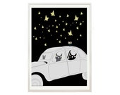 Black cats driving car Prints And Posters 1- Black cat Poster Art print by nicemiceforyou