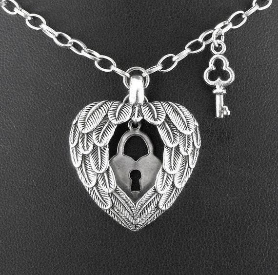 Silver Feathered Heart Lock Key Necklace - Unlocking Freedom's Wings by COGnitive Creations