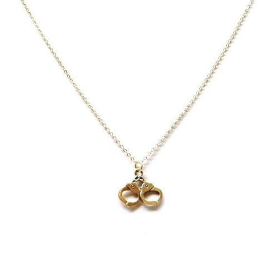 Handcuff Necklace Gold: Small Handcuff Charm Necklace Gold Plated By