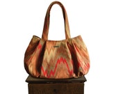 "sale coupon code Purse & bag : Large Hobo - flamestitch / chevron fabric red pumpkin brown fall fashion - ""WILDFIRE MARTINI"""