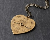 Vacillate - Brass Heart Spinner Necklace by Prairieoats