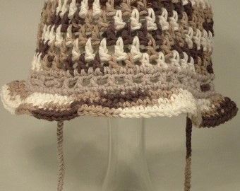 Sun Hat Toddler Girl Boy Bucket Cotton Brown Brim Custom Fit Ties