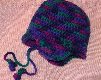 Baby Toddler Girl Bucket Earflap Hat Brim Ties Purple Pink Blue Crochet