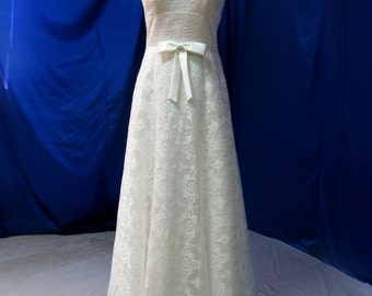 Beautiful Country Wedding Dress with Cap Sleeves Illusion back and Bow Custom Made in your Measurements