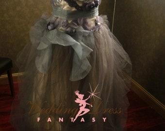 Alternative Gray Wedding Dress with Organza Details and Cream Underlay Custom Handmade by Award Winning Bridal Dressmaker