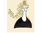 Queen princess Art illustration ink drawing little  print 6 x 8 gold beige black