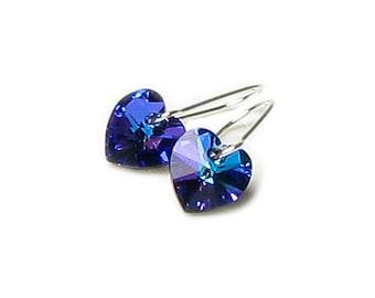 Blue Heart Earrings, Swarovski Crystal, Silver Earrings, Purple Heliotrope Heart, Romantic Jewelry, Dainty, Petite, Tiny, Heart of the Ocean